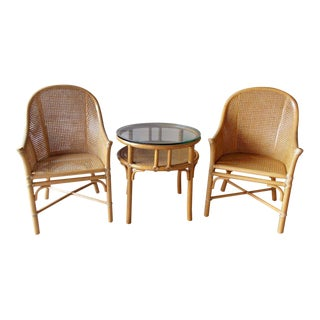 McGuire Rattan and Cane Barrel Armchairs and Side Table - Set of 3 For Sale