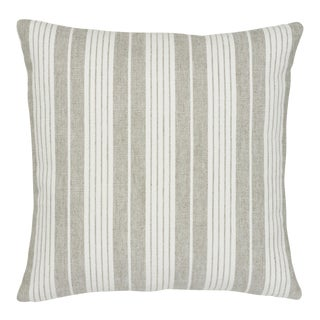 Contemporary Schumacher Horst Stripe Pillow in Grisaille - 20ʺW × 20ʺH For Sale