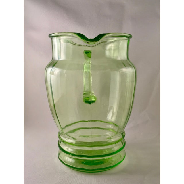 Anchor Hocking Green Uranium Glass Pitcher - Image 4 of 10