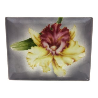 Vintage Japanese Cloisonne Tutanka Orchid Tray For Sale