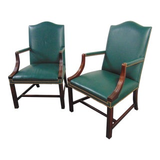 Hickory Chair Co Mahogany Leather Library Chairs - a Pair For Sale