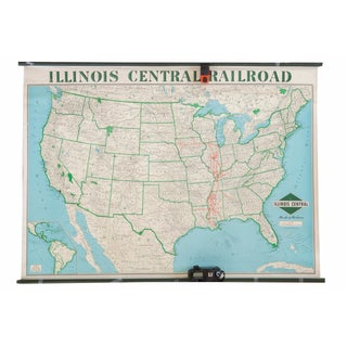 Vintage Illinois Central Railroad Pull Down Map For Sale