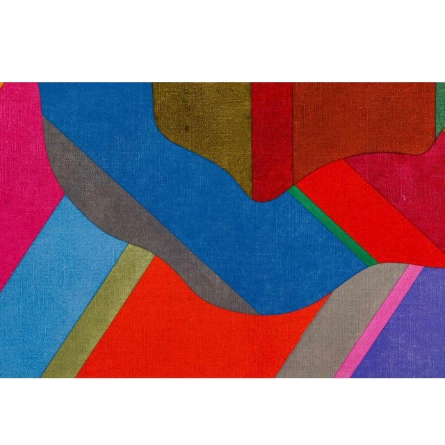 Abstract Large 1970s Graphic Hardedge Geometric Painting by Roland Ginzel For Sale - Image 3 of 12
