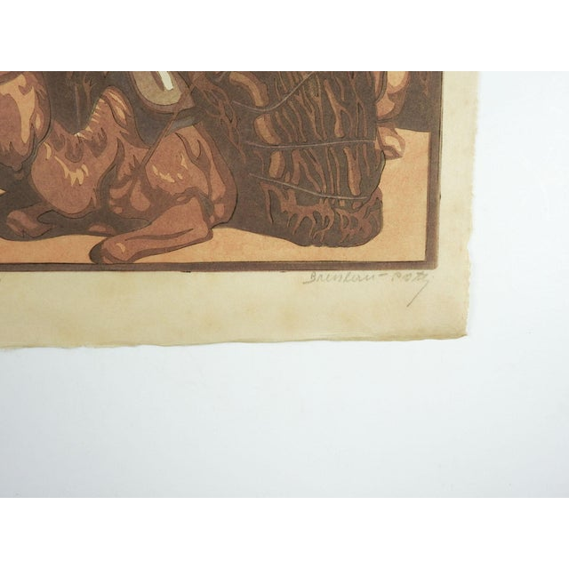 Art Deco Norbertine Von Bresslern-Roth Camel Woodcut For Sale - Image 3 of 5