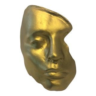 1970s Vintage Ara Soner Gold Cast Fiberglass Face Sculpture For Sale