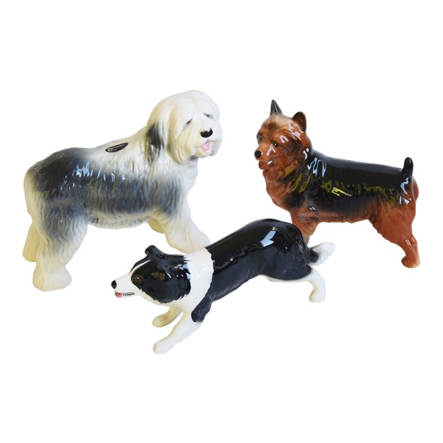 English Coopercraft Porcelain Dog Figurines - Set of 3 For Sale