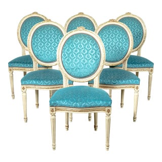 French Louis XVI Style Maison Jansen Parcel Gilt and Painted Dining Chairs- Set of 6 For Sale