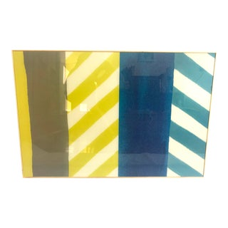 Abstract Yellow, Blue and Gray Geometric Framed Wall Art For Sale