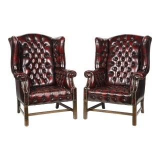 1940s Chesterfield George III Wingback Armchairs Tufted Burgundy Leathe - a Pair For Sale
