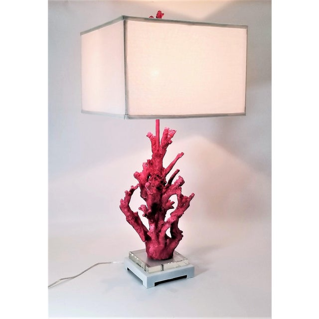 Contemporary Vintage Pink Coral Resin Lamp With White Shade and Coral Finial For Sale - Image 3 of 13