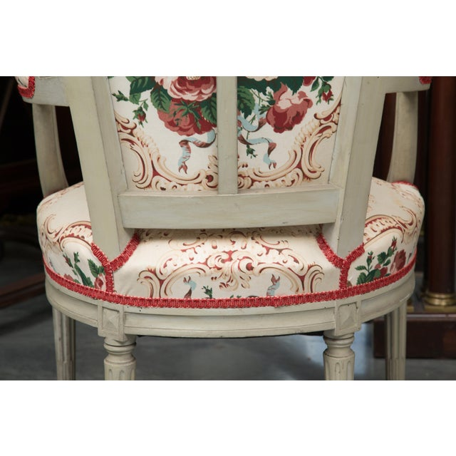 Louis XVI Style Painted Armchairs - a Pair For Sale - Image 12 of 13