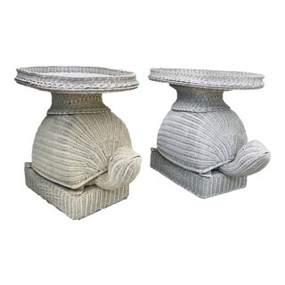 Regency-Style Wicker Turtle Tables-A Pair For Sale