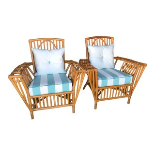 Vintage Custom Upholstered Stick Rattan Chairs-Pair For Sale