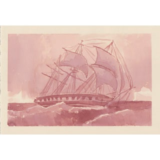 Impressionist Original Ink Painting of Ship For Sale