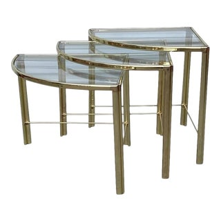 1960s Milo Baughman Brass Corner Nesting Tables - Set of 3 For Sale