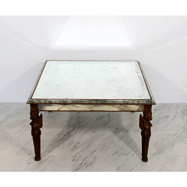 Antique Art Deco Carved Wood and Mirrored Glass Coffee Occasional Table For Sale - Image 4 of 9