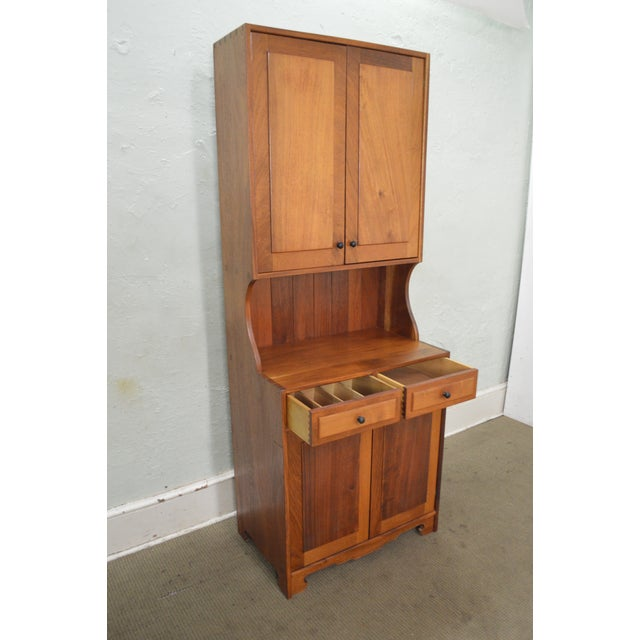 Mid Century Studio Crafted Solid Walnut Step Back Cupboard Cabinet W/ Drawers - Image 5 of 10