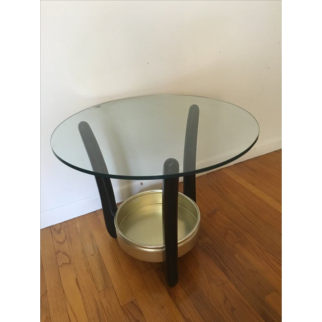 Mid-Century Round Glass Top End Table - Image 2 of 3