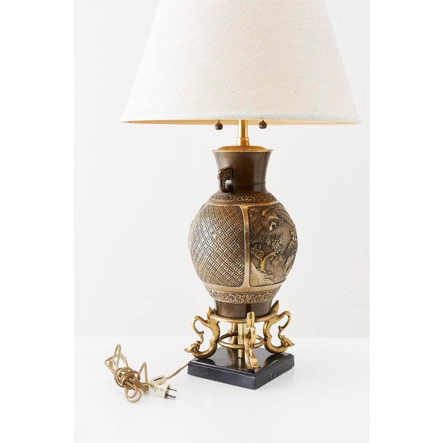 Mid-Century Modern Japanese Bronze Urn Vase Mounted as Table Lamp For Sale - Image 3 of 13