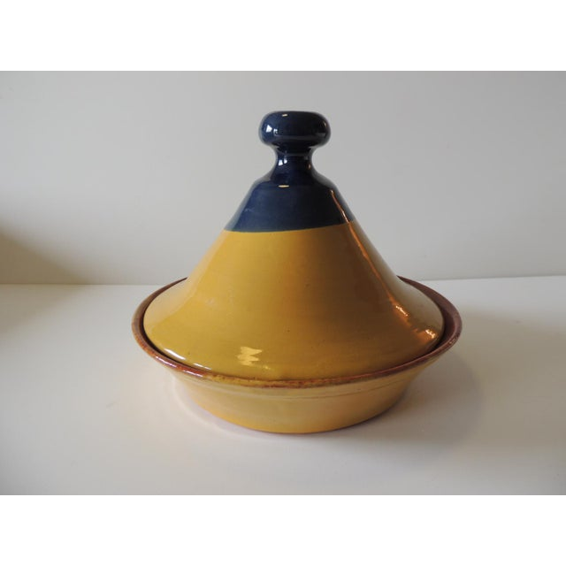 """Yellow and Blue Tagine Serving Bowl Size: 10""""D x 8.5""""H Moroccan"""