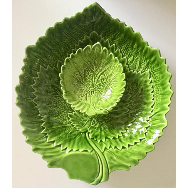 Italian Green Majolica Leaf Bowls-A Pair For Sale - Image 12 of 13