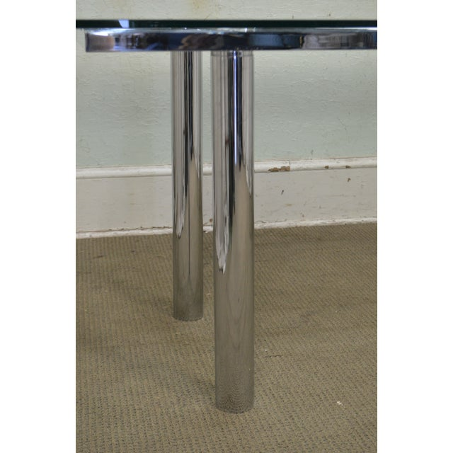 Mid Century Modern Chrome Base Rectangular Glass Top Dining Table For Sale - Image 12 of 13