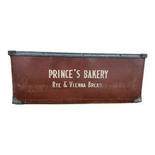 Early 20th Century Industrial Fiberboard Prince's Bakery Storage Bin For Sale