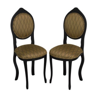 French Regency Style Petite Pair of Black Painted Side Chairs For Sale
