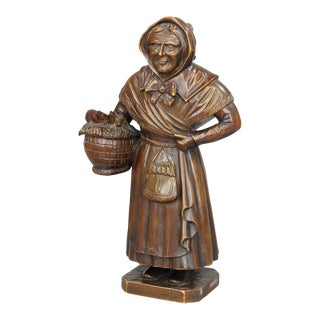 Antique Woodcarving Sculpture Of A Folksy Countrywoman For Sale