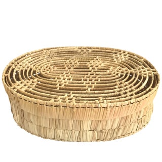 Vintage Handwoven Wicker Box oval with lid