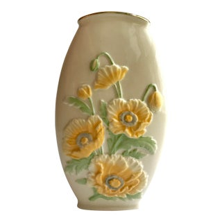 1980s Cottage Lenox Vase With Relief Yellow Pansies For Sale