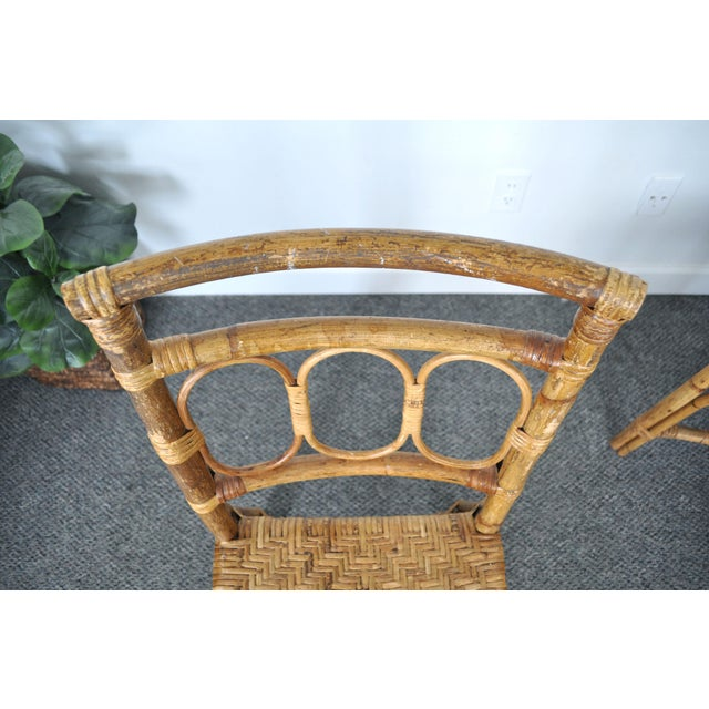 Brown Antique 1920's Bamboo & Rattan Chairs - A Pair For Sale - Image 8 of 10