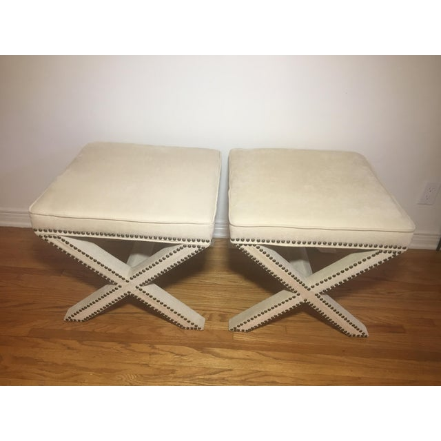Linen Nailhead X-Bench Ottoman - a Pair For Sale - Image 5 of 8