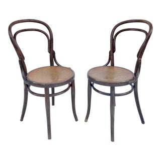 Thonet Bentwood Chairs With Embossed Seat - a Pair For Sale
