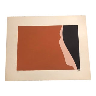 Black, Peach & Sienna Colored Minimalist Woman's Profile Hand-Painted Serigraph 2/27 by Geoffrey Graham For Sale
