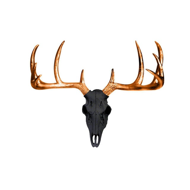 Boho Chic Wall Charmers Black & Metallic Bronze Antlers For Sale - Image 3 of 3