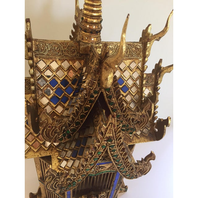 Gold Asian Spirit House Thai Shrine Temple Bird Cage For Sale - Image 8 of 12