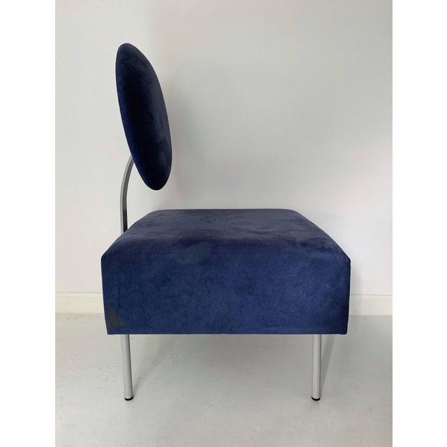 Contemporary 1980's Vintage Andreu World Contemporary Blue Square Lounge Chair For Sale - Image 3 of 7
