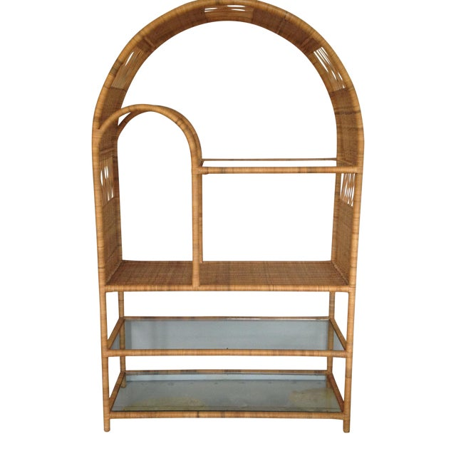 Mid-Century Rattan & Glass Etagere / Bookcase - Image 1 of 8