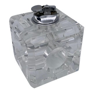 Vintage Cube Lucite Table Lighter For Sale