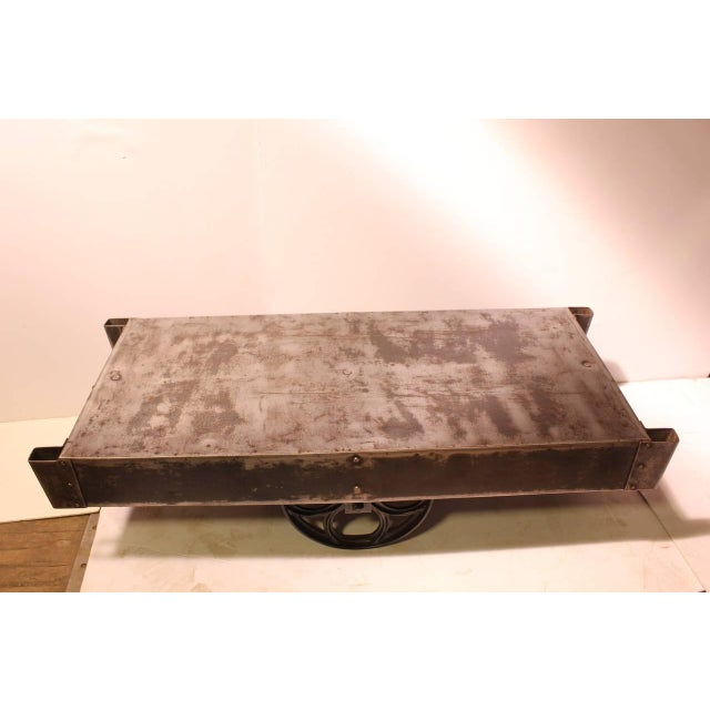 Antique American Industrial Steel Cart Coffee Table For Sale - Image 4 of 8