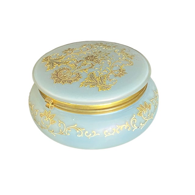 French 1930s Gold Painted Opaline Glass Box For Sale - Image 3 of 7