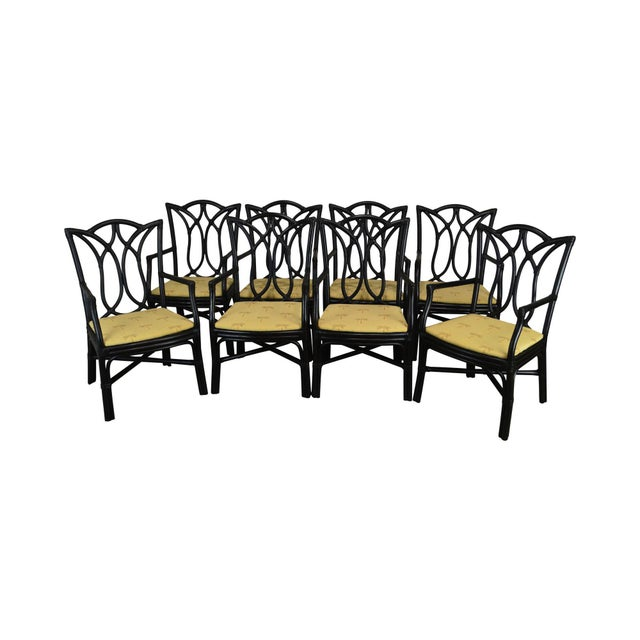 McGuire Style Set 8 Black Rattan Bamboo Dining Chairs For Sale - Image 13 of 13