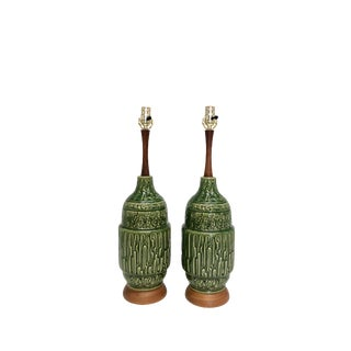 Pair of Mid Century Modern Green Ceramic Table Lamps For Sale