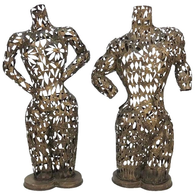 Brutalist Metal Torso Sculptures - A Pair For Sale