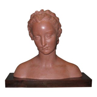 Art Deco Terracotta Sculpture of a Female Head For Sale