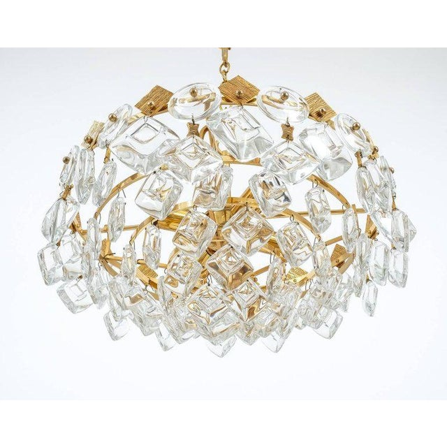 Petite Gilded Brass and Glass Chandelier Lamp by Palwa, 1970 For Sale - Image 5 of 8