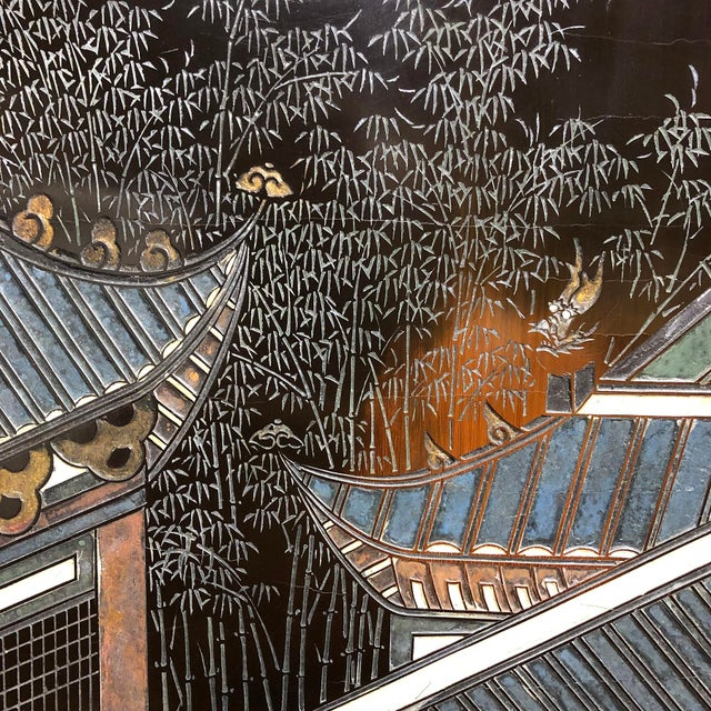 Chinese Eight Panel Coromandel Folding Lacquered Screen For Sale - Image 4 of 13