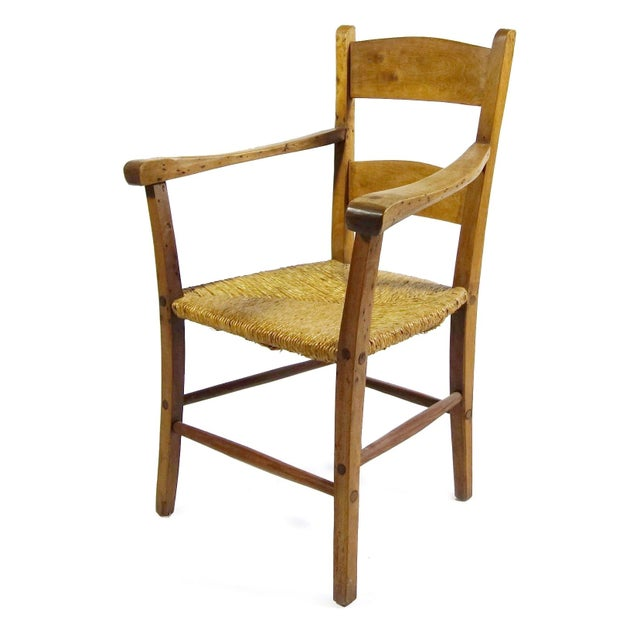 Rustic Armchair With Rush Seat - Image 1 of 6