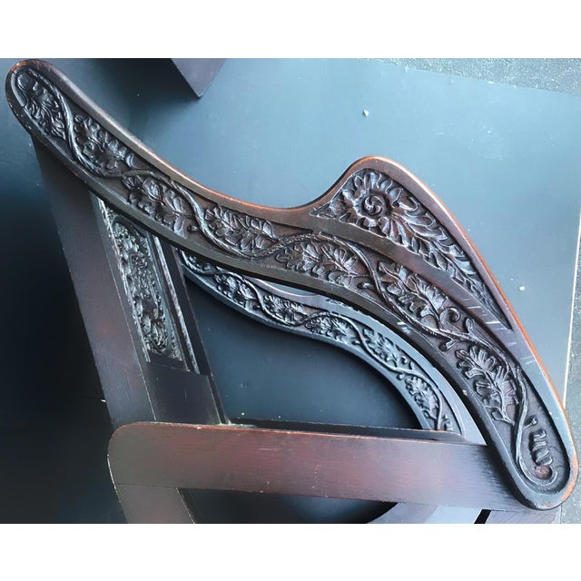 Wood Antique Tudor Revival English Manor House Carved Hall Chair For Sale - Image 7 of 13